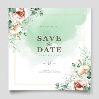 Bruiloft uitnodiging sjabloon met eucalyptus bladeren set