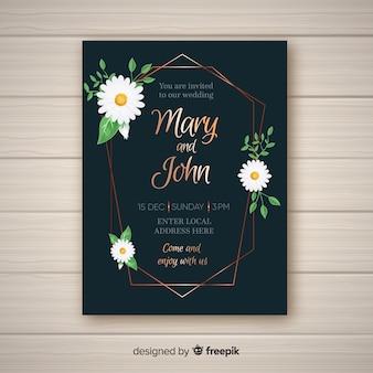 Bruiloft uitnodiging sjabloon met florale elementen