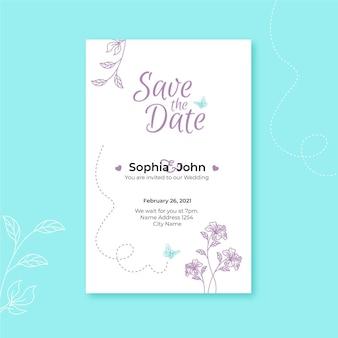 Bruiloft uitnodiging sjabloon met florale versieringen