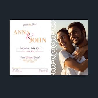 Bruiloft uitnodiging sjabloon met foto concept