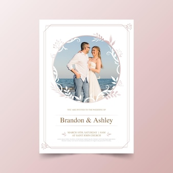 Bruiloft uitnodiging sjabloon met foto van paar