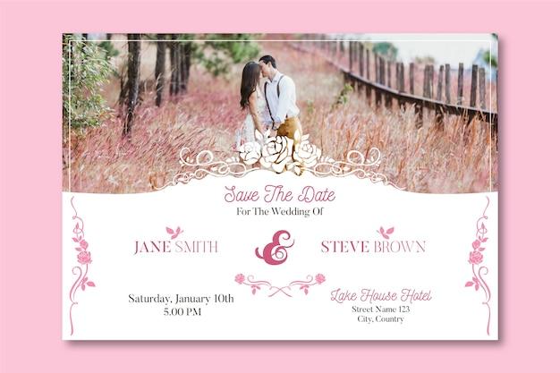 Bruiloft uitnodiging sjabloon met foto van schattige paar