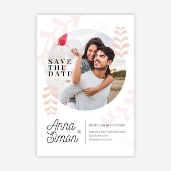 Bruiloft uitnodiging sjabloon met foto