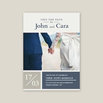 Bruiloft uitnodiging sjabloon met fotothema