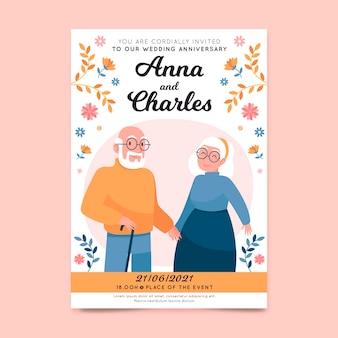 Bruiloft uitnodiging sjabloon met geïllustreerde ouderen