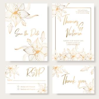 Bruiloft uitnodiging sjabloon met gouden decoratieve elementen.