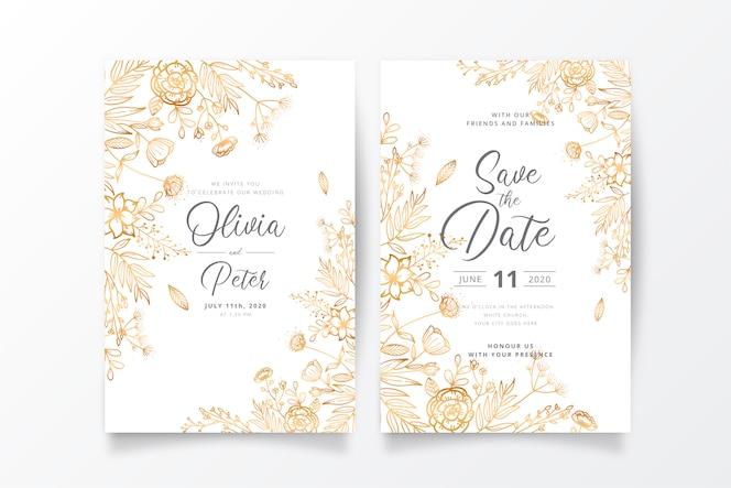 Bruiloft uitnodiging sjabloon met gouden natuur