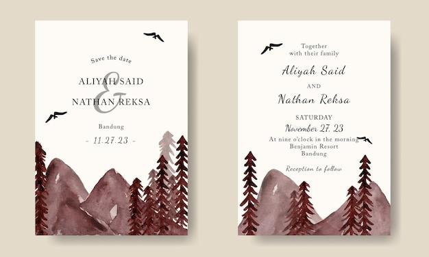 Bruiloft uitnodiging sjabloon met handgeschilderde aquarel bergen landschap achtergrond