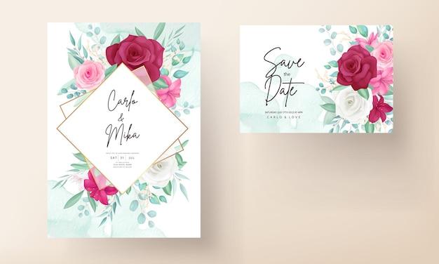 Bruiloft uitnodiging sjabloon met handgetekende mooie bloem frame Premium Vector