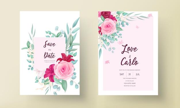 Bruiloft uitnodiging sjabloon met handgetekende mooie bloem frame
