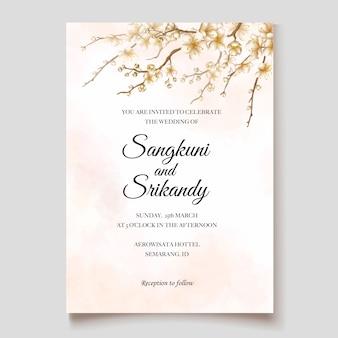 Bruiloft uitnodiging sjabloon met kersenbloesem