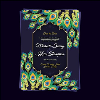Bruiloft uitnodiging sjabloon met kleurrijke pauwenveren
