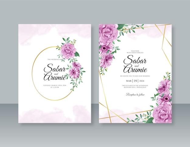 Bruiloft uitnodiging sjabloon met paarse bloem aquarel schilderij en geometrische frame