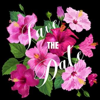 Bruiloft uitnodiging sjabloon met paarse hibiscus bloemen.