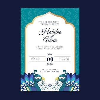 Bruiloft uitnodiging sjabloon met pauwenveren
