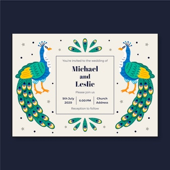 Bruiloft uitnodiging sjabloon met peacock