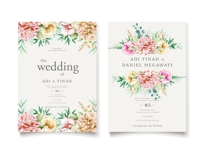 Bruiloft uitnodiging sjabloon met pioenrozen krans