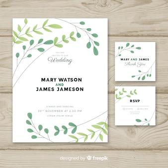Bruiloft uitnodiging sjabloon met platte ontwerp