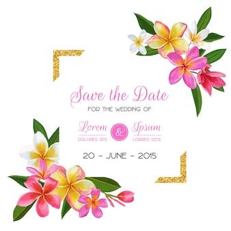 Bruiloft uitnodiging sjabloon met plumeria bloemen