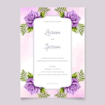 Bruiloft uitnodiging sjabloon met prachtige paarse bloemen aquarel