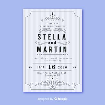 Bruiloft uitnodiging sjabloon met retro design