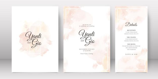 Bruiloft uitnodiging sjabloon met splash aquarel achtergrond