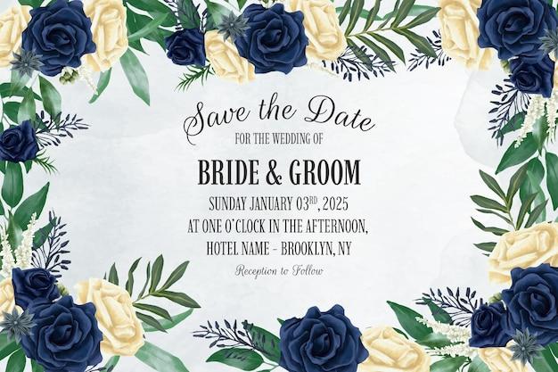 Bruiloft uitnodiging sjabloon met stoffige aquarel bloemen frame samenstelling