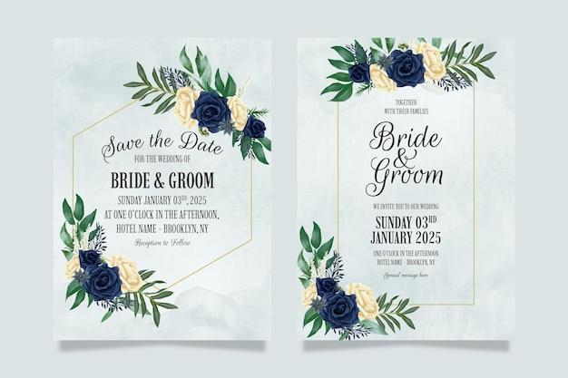 Bruiloft uitnodiging sjabloon met stoffige aquarel bloemensamenstelling
