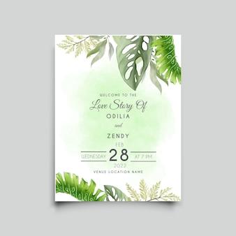 Bruiloft uitnodiging sjabloon met tropische bladeren monstera aquarel ontwerp