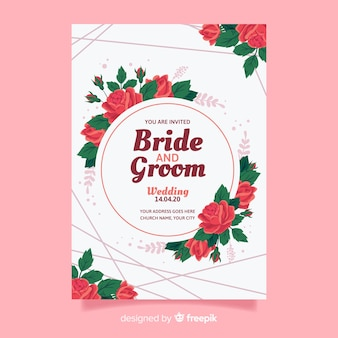 Bruiloft uitnodiging sjabloon op platte ontwerp