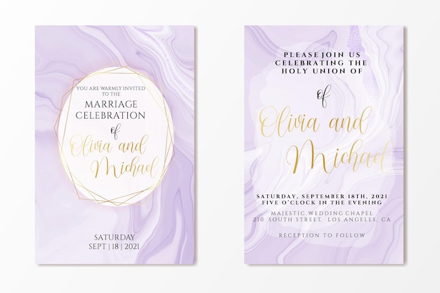 Bruiloft uitnodiging sjabloon op violet vloeibare marmeren aquarel achtergrond met folie lijnen en frame