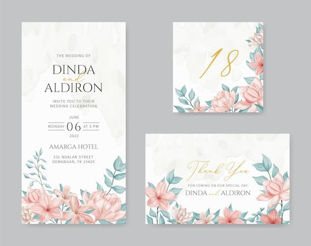 Bruiloft uitnodiging sjabloon set bundel met aquarel bloemen frame
