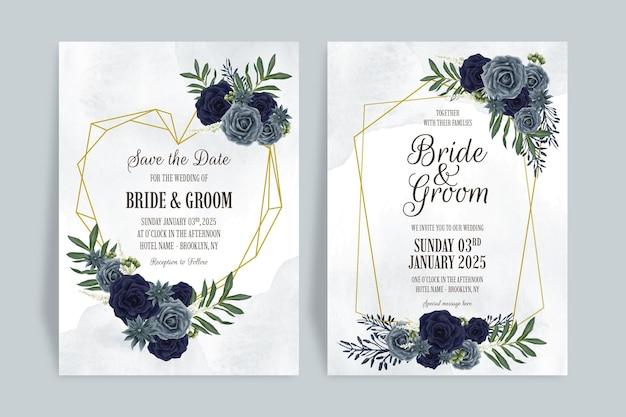 Bruiloft uitnodiging sjabloon set met aquarel bloemen ontwerpconcept