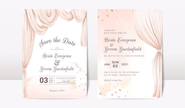 Bruiloft uitnodiging sjabloon set met aquarel boog