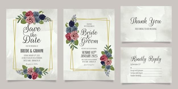 Bruiloft uitnodiging sjabloon set met bloemen aquarel rozen ontwerp