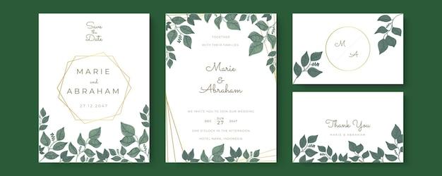 Bruiloft uitnodiging sjabloon set met gebladerte lijntekeningen. botanische bladeren met de hand getekend.