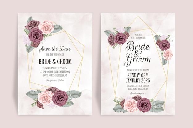 Bruiloft uitnodiging sjabloon set met stoffige aquarel rozen verlaat decoratie concept