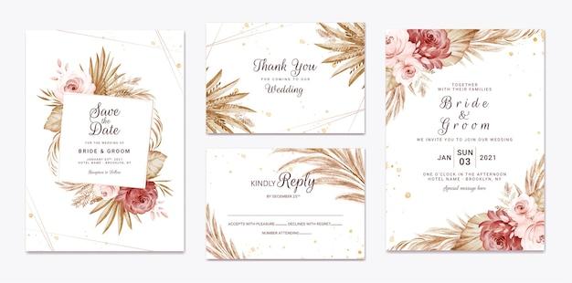 Bruiloft uitnodiging sjabloon set