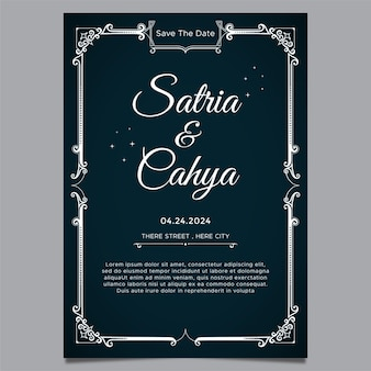 Bruiloft uitnodiging sjabloon thema ornament