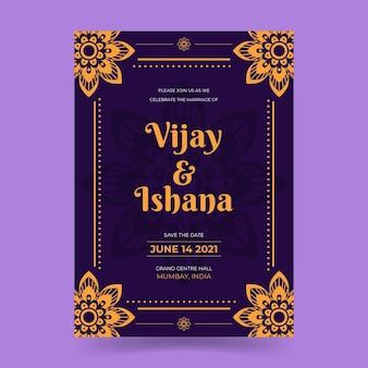 Bruiloft uitnodiging sjabloon voor indiase echtpaar