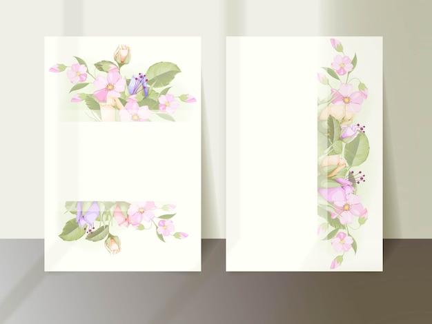 Bruiloft uitnodiging sjabloonontwerp met bloemen