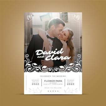 Bruiloft uitnodiging stijl met foto