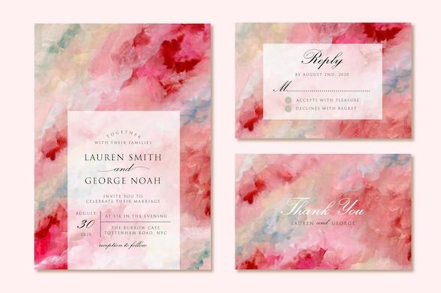 Bruiloft uitnodiging suite met rood roze moderne abstracte schilderkunst