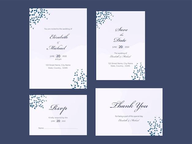 Bruiloft uitnodiging suite met vier opties op blauwe achtergrond.