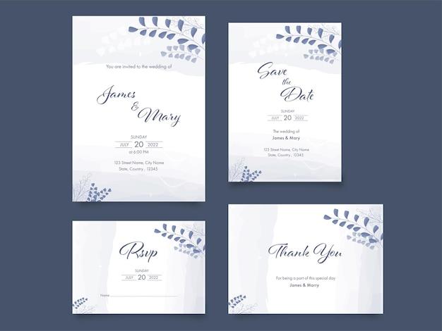 Bruiloft uitnodiging suite versierd met bladeren op leisteen grijze achtergrond.