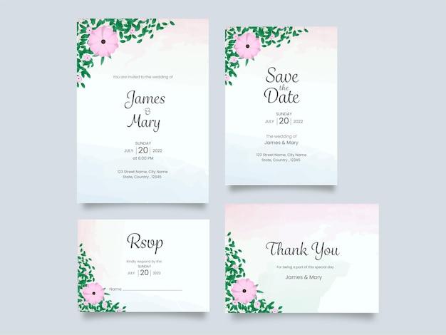Bruiloft uitnodiging suite versierd met bloemen op een grijze achtergrond.