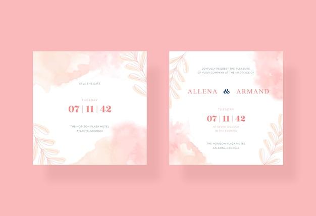 Bruiloft uitnodiging vierkante sjabloon met prachtige aquarel