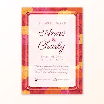 Bruiloft uitnodiging vintage sjabloon