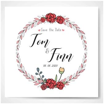Bruiloft uitnodiging wenskaart bloemen cirkel vector achtergrond sjabloon illustratie ontwerp