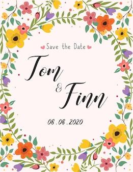 Bruiloft uitnodiging wenskaart kleurrijke vector achtergrond social media sjabloonontwerp